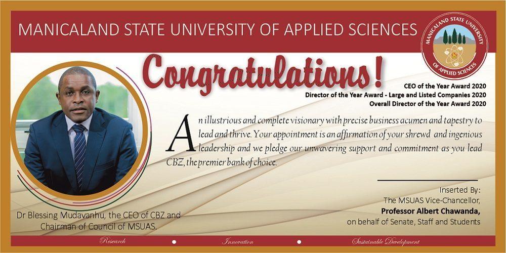 Congratulations Dr B Mudavanhu